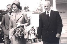 Queen Elizabeth II and Prince Philip visit to Russell Museum